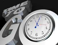 Time to Go 3D Words Clock Counting Down to Start. The words Time to Go with a clock in the letter O, representing an encouragement to begin or start a project stock illustration