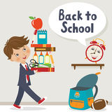It is time to go to school. Happy teenager is going back to school Royalty Free Stock Photography