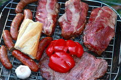 Time to Grill. Meat on the grill at a summer backyard barbecue Stock Photography