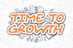 Time To Growth - Doodle Orange Text. Business Concept. Royalty Free Stock Images
