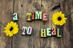 Time to heal healthy healthcare happy improve. Barnwood cleanse detox diet broken heart love lost romance drug addiction letterpress stock photos