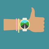 Time to hitchhiking. Thumb Up. Hand with clock. Flat vector logo icon. Royalty Free Stock Images