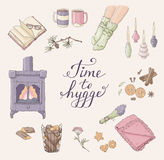 Time to Hygge. Cozy home things. Handdrawn card Stock Photo