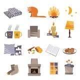 Time to Hygge. Flat icons set. Vector. Time to Hygge. Vector flat icons set. Cozy home things like candles, socks, rug, tea, fireplace, chair, cat, pillows Royalty Free Illustration