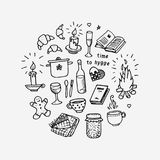 Time to Hygge. Hand drawn icons set. Vector illustration on white background Stock Images