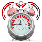 Time to improve. The alarm clock with an inscription Stock Image