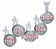 Time to Improve Your Credit Borrowers Rising on Clocks Better Sc Royalty Free Stock Images