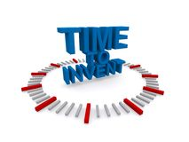 Time to invent. An illustration of a clock with the text 'time to invent stock illustration