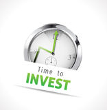Time to invest sign. With upward trend arrow on clock face in the background, business concept isolated on white Royalty Free Stock Photos