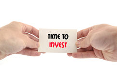 Time to invest text concept. Isolated over white background Stock Images