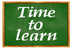 Time to learn. Blackboard with wooden frame Stock Photography