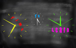 Time to learn - business education concept words in  different c. Olors clocks Stock Photography