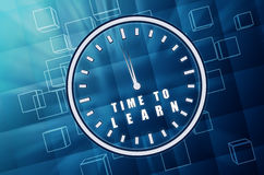 Time to learn in clock symbol in blue glass cubes Stock Photo