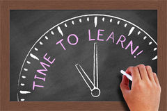 Time to Learn. Concept drawn on blackboard with white chalk in hand royalty free stock photo
