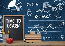 Time to learn Desk foreground with blackboard graphics of math science equations Stock Images
