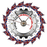 Time to Learn English - Metallic Gear Stock Photo