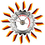 Time to Learn German - Metallic Gear Stock Photo