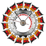 Time to Learn German - Metallic Gear. Metal clock gear-shaped with flags of Germany and phrase Time to Learn German on a white background Royalty Free Stock Photo