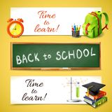 Time to learn horizontal banners. Realistic time to learn back to school horizontal banners set with education icons vector illustration Royalty Free Stock Images