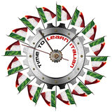 Time to Learn Italian - Metallic Gear. Metal clock gear-shaped with Italian flags and phrase Time to Learn Italian on a white background Stock Images