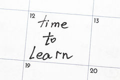 `time to learn` sign written with a marker on the calendar Stock Images