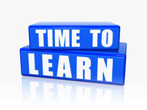 Time to learn in blue blocks Stock Photo