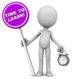 Time to learn. Words with alarm in one hand, concept of the right time to start new learning Stock Image