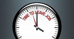 Time to leave the job entrepreneurs concept image in clock Stock Image