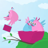 Time to leave the nest. Cute cartoon bird family waving goodbye as one of their fledgling children decides its time to leave the nest and flies away with a Royalty Free Stock Images