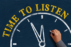 Time to listen. Businessman is drawing the concept of time to listen on chalkboard Royalty Free Stock Images