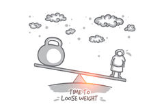 Time to loose weight concept. Hand drawn isolated vector. Royalty Free Stock Photography
