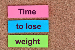 Time to lose weight words on notes Stock Image