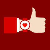 Time to love sing. Thumb Up. Hand with clock. Flat vector icon. Royalty Free Stock Photo