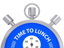 Time to lunch. Text 'time to lunch' in white uppercase letters inscribed on face of a stop watch with three buttons, start, stop and a winder, white background vector illustration