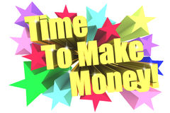 Time To Make Money slogan. Golden text with vivid stars Stock Image