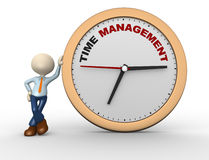 Time to management. 3d people - man, person with a clock and text  time time to management Stock Photography