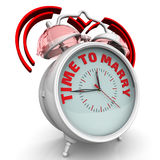 Time to marry. The alarm clock with an inscription. Alarm clock with the red words `TIME TO MARRY`. 3D Illustration Royalty Free Stock Photography