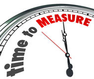 Time to Measure Words Clock Gauge Performance Level. Time to Measure words on a 3d clock reminding you to gauge your performance level and verify success Royalty Free Stock Photography