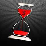 Time to money concept icon. Hourglass icon on black leather background. Hi-res digitally generated image Stock Images
