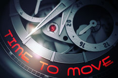 Time To Move on the Luxury Wristwatch Mechanism. 3D. Stock Images
