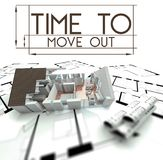 Time to move out with project of house Royalty Free Stock Images