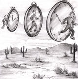 Time In to In Out of Time. Three men in various relationships to time clocks in the sky of a desert. The first clock on the left shows a man in the past about to Stock Illustration