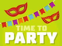 Time to party logo, flat style. Time to party logo. Flat illustration of time to party logo for web Vector Illustration
