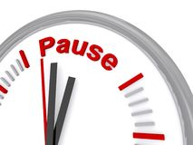 Time to pause. A gray clock with white face where the 12 o'clock position has been removed and replaced by the word pause Royalty Free Stock Photo