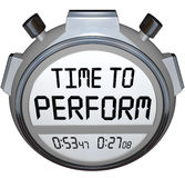 Time to Perform Stopwatch Timer Clock Action Needed. Time to Perform words on a stopwatch or timer to illustrate now is the moment to take action and implement Stock Photos