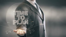 Time To Plan Businessman Holding in Hand New technologies stock footage