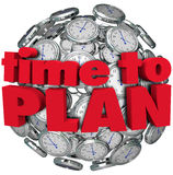 Time to Plan Clock Sphere Planning for Goal Achievement. The words Time to Plan in red letters on a sphere of clocks to illustrate the importance of planning to Royalty Free Stock Photo
