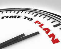 Time to Plan - Clock with Words. White clock with words Time to Plan on its face, symbolizing the need for strategy and vision Stock Images