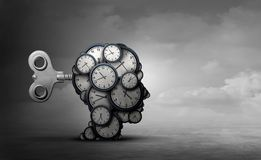 Time To Plan. And take action business concept as a group of clocks shaped as a human head with a winding key with 3D render elements stock illustration