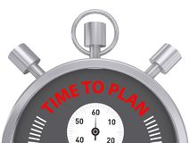 Time to plan. Text 'time to plan' in uppercase red letters inscribed on the face of a stop watch with three buttons, stop, start and winder, white background vector illustration